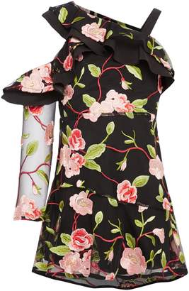 Bardot Junior Girls Rose Embroidered Asymetric Dress