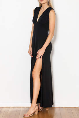 Veronica M Deep V Neck Side Slit Maxi