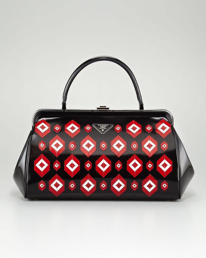 Prada Diamond Spazzolato Doctor's Bag, Viola