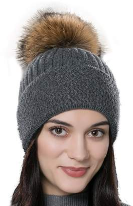 c610756c48a at Amazon Canada · URSFUR Autumn Knitted Caps with Fur Ball Pompom Hats  Women Winter Headwear Gray