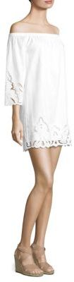 Polo Ralph Lauren Embroidered Off-The-Shoulder Linen Dress $245 thestylecure.com