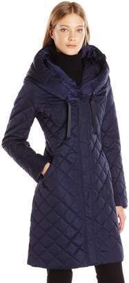 T Tahari Women's Amy Diamond Quilted Hooded Coat