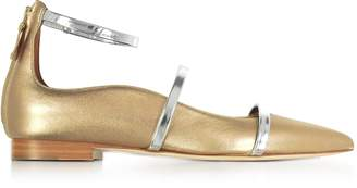 Malone Souliers By Roy Luwolt Robyn Flat Metallic Nappa Leather Ballerinas