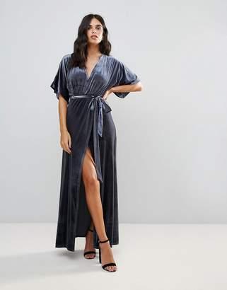 WYLDR Wyldr Dreamer Desert Moon Velvet Maxi Wrap Dress With Low Neckline