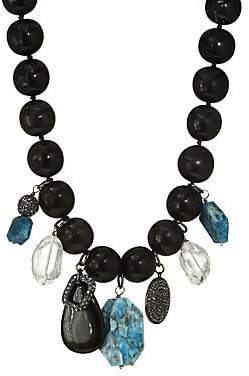 Nest Women's Horn Bead Teal Apatite Charm Necklace