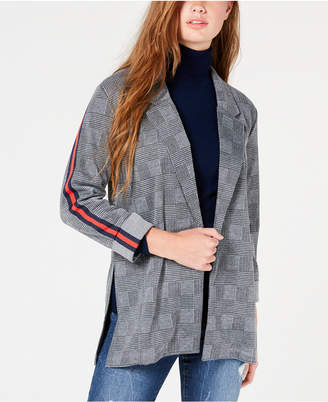 Almost Famous Juniors' Plaid Stripe Blazer Jacket