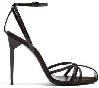 Saint Laurent Freja Crystal Embellished Sandals - Womens - Black
