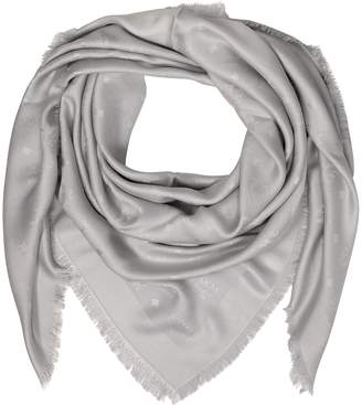 MCM Light Gray Wool and Silk Monogram Lurex Scarf