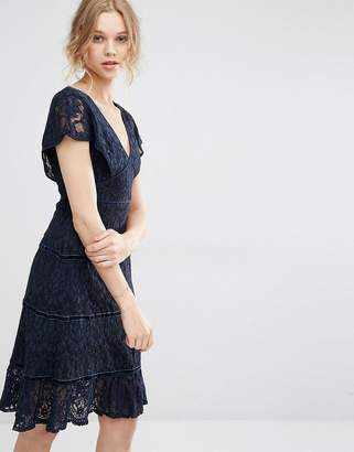 Foxiedox Lace Deep V Midi Dress