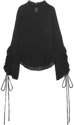 Preen Line Alexia Lace-trimmed Ruffled Crepe De Chine Blouse - Black