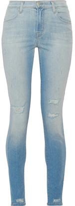 J Brand - Maria Distressed High-rise Skinny Jeans - Light denim $230 thestylecure.com