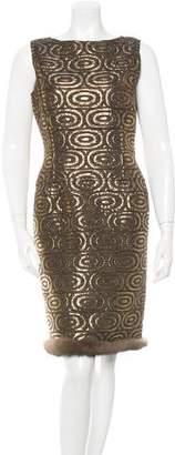 Oscar de la Renta Fur-Trimmed Brocade Dress w/ Tags