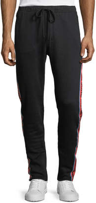 Young Money Cotton Track Pants with Logo Taping, Black
