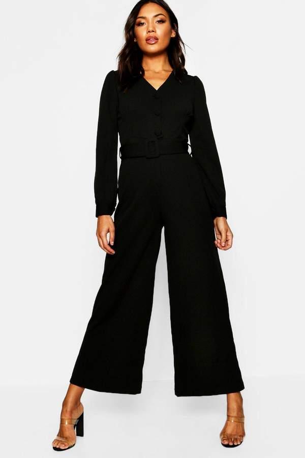 Wide Leg Belted Jumpsuit