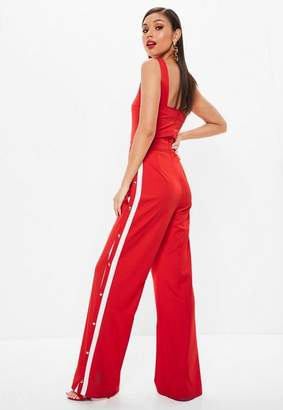 Missguided Red Stripe Popper Jumpsuit, Red