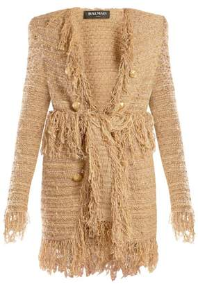 Balmain Fringed Tweed Cardigan - Womens - Beige