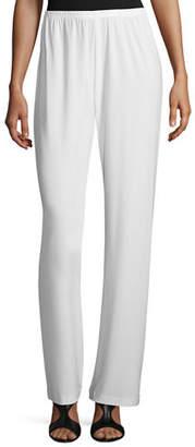 Caroline Rose Stretch-Knit Straight-Leg Pants, Petite
