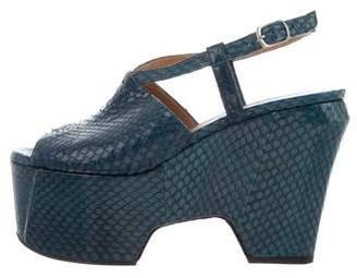 Dries Van Noten Snakeskin Platform Sandals
