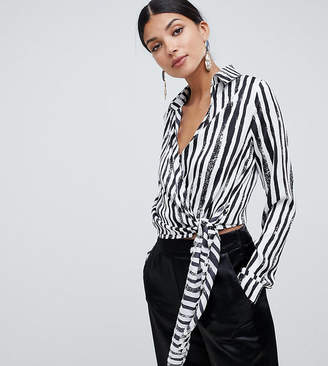 Missguided Tall tie side blouse in mono stripe