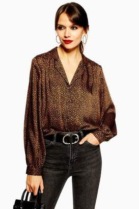 Topshop Womens Tall Animal Spot Long Sleeve Shirt 67bdbe27a