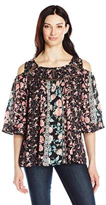 NY Collection Women's 3/4 Sleeve Twin Print Cold Shoulder Woven Blouse