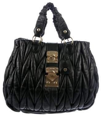 Miu Miu Matelassé Pleated Leather Tote Black Matelassé Pleated Leather Tote