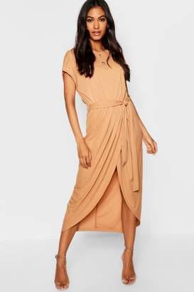 boohoo Tie Waist Wrap Front Midaxi Dress