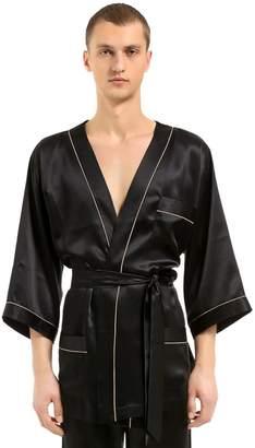 Loretta Caponi Silk Satin Kimono Pajama Shirt