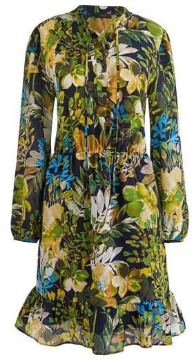 J. CREW J.Crew Watercolor Floral Silk Ruffle Dress