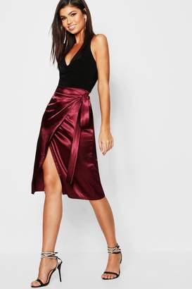 boohoo Satin Wrap Midi Skirt