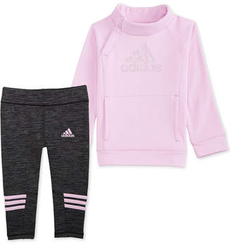 adidas Little Girls 2-Pc. Fleece Top & Leggings Set