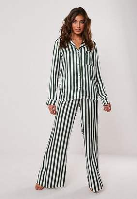 Missguided Green Satin Striped Pyjama Bottoms