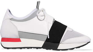 Balenciaga Race Runner Leather, Suede, Mesh And Neoprene Sneakers - White