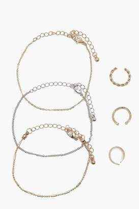 boohoo Delicate Bracelet And Ring 6 Pack