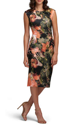 Label By 5twelve Gathered-Keyhole Floral-Print Midi Dress
