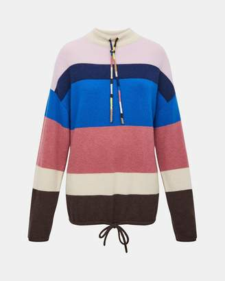 Theory Cashmere Striped Mock Neck Pullover