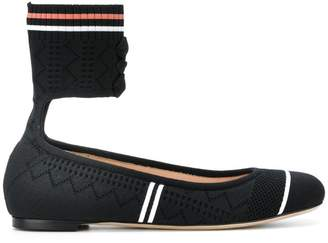 Fendi stretch fabric ballerinas