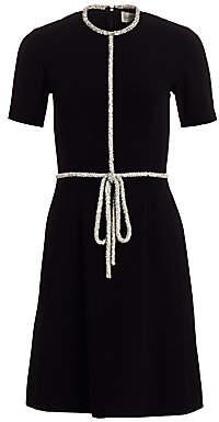 Ahluwalia Women's Embellished-Trim Stretch Crepe Dress