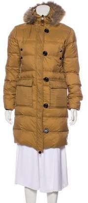 Moncler Fur-Trimmed Down Coat