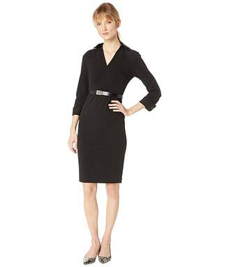 Calvin Klein Collar Shirt Sheath Dress with Logo Belt CD8C12A9
