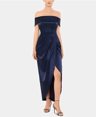 Xscape Evenings Off-The-Shoulder Satin Dress