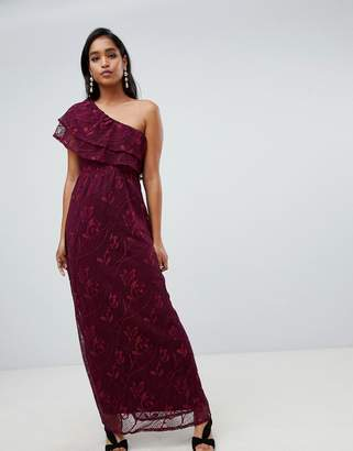 Vila one shoulder lace detail maxi dress in burgundy
