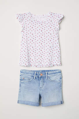 H&M Top and Denim Shorts - Blue