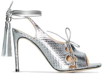 Liudmila metallic 100 lace-up sandals