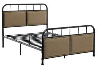 Ebern Designs Tieast Full Size Metal Bed Frame With Headboard, Footboard, Upholstered Linen With Studs, No Box Spring Needed Platform, Under-bed Storage, Vintage In