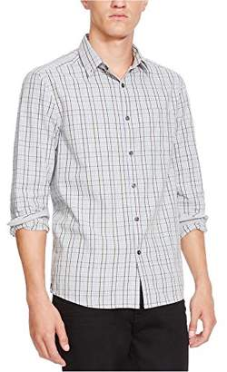 Kenneth Cole New York Men's Long Sleeve Button Down Collar 1 Pocket Check