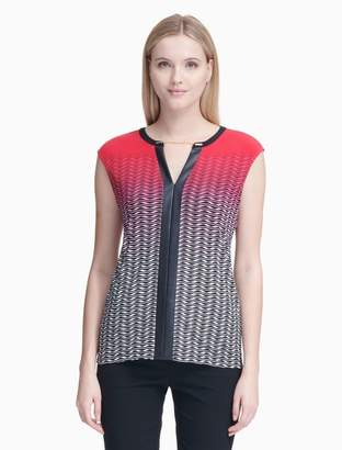 Calvin Klein printed v-neck faux leather sleeveless top