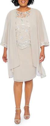 MAYA BROOKE Maya Brooke Embroidered Duster Jacket Dress - Plus