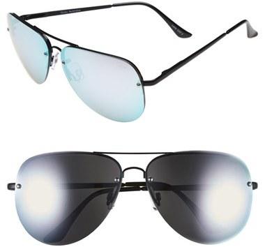 Women's Quay Australia 'Muse' 65Mm Mirrored Aviator Sunglasses - Black/ Purple