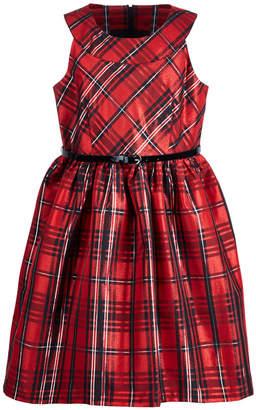 Bonnie Jean Big Girls Plus Metallic Plaid Dress